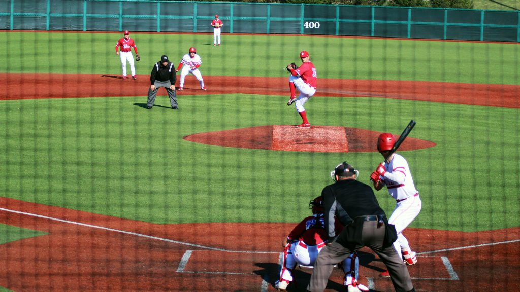 Matt Lickwicki pitches in a scrimmage at Bart Kaufman Field