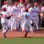 Hopkins Bothwell celebrate strikeout vs Purdue