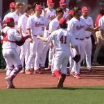 Hopkins Bothwell celebrate strikeout vs Purdue