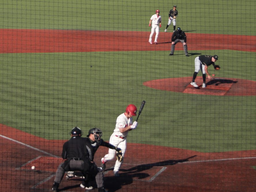 Hunter Jessee hit by a pitch from Purdue's Daniels