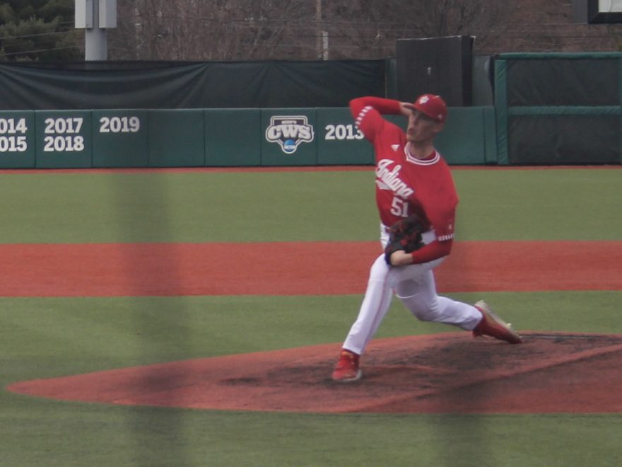 McCade Brown pitches vs Penn State March 13, 2021